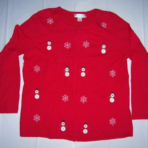 Holiday Button Snowman Christmas Sweater