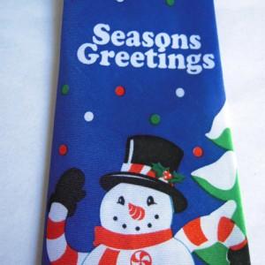 Season's Greetings Snowman Tie