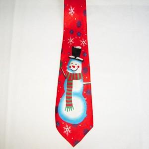 Musical Snowman Red Tie