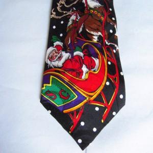 Santa Reindeer Sleigh Tie
