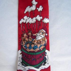 Santa, Reindeer Hot Tub Tie